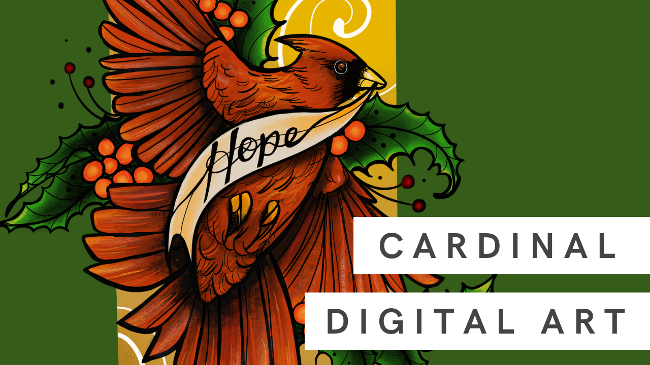 Digital Art | Holiday Cardinal Graphic with iPad and Procreate