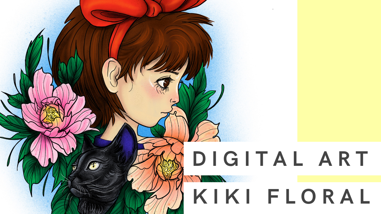 Kiki Floral | Digital Drawing inspired by Kiki Delivery Service
